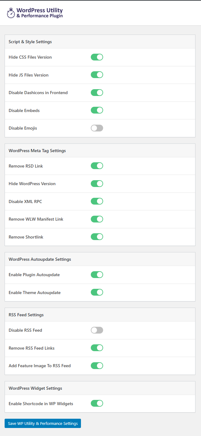 Settings Page in Admin Dashboard