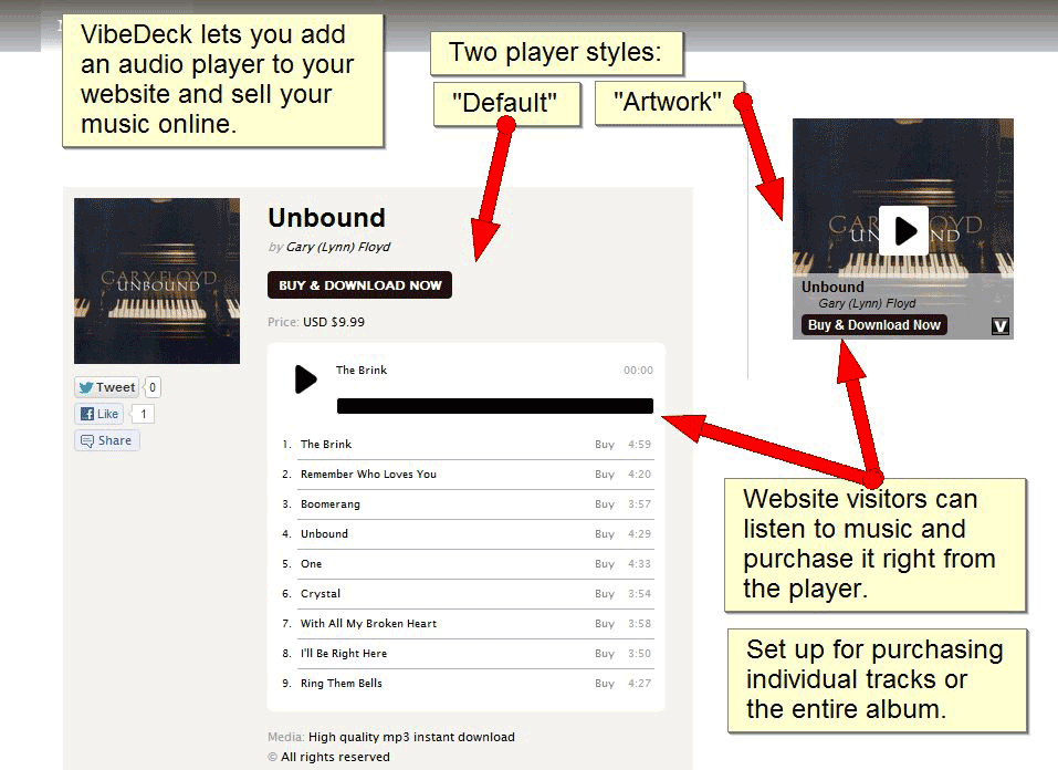 "Website with VibeDeck players.  Main content contains a ""default"" player, and sidebar contains an ""artwork"" player."