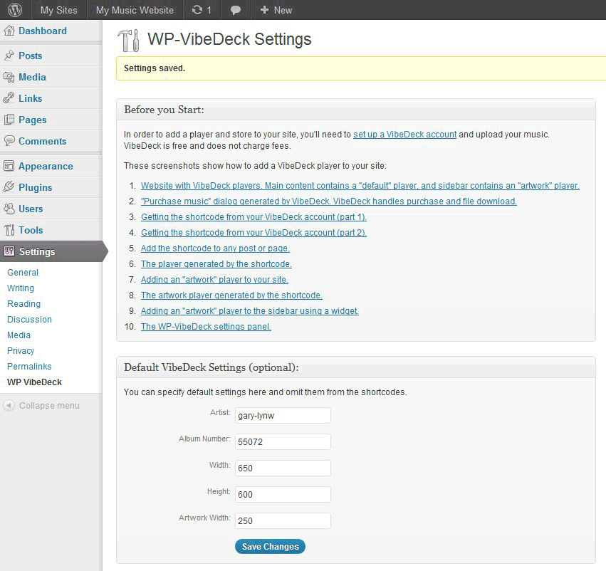 The WP-VibeDeck settings panel.