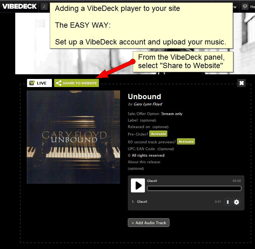 Getting the shortcode from your VibeDeck account (part 1).
