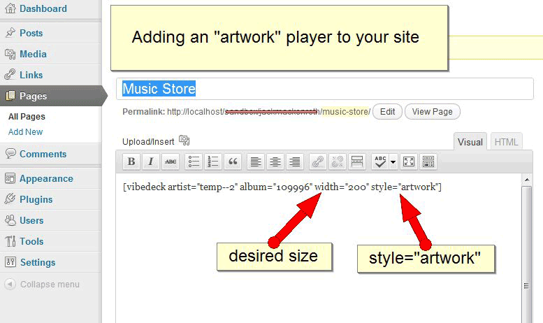"Adding an ""artwork"" player to your site."