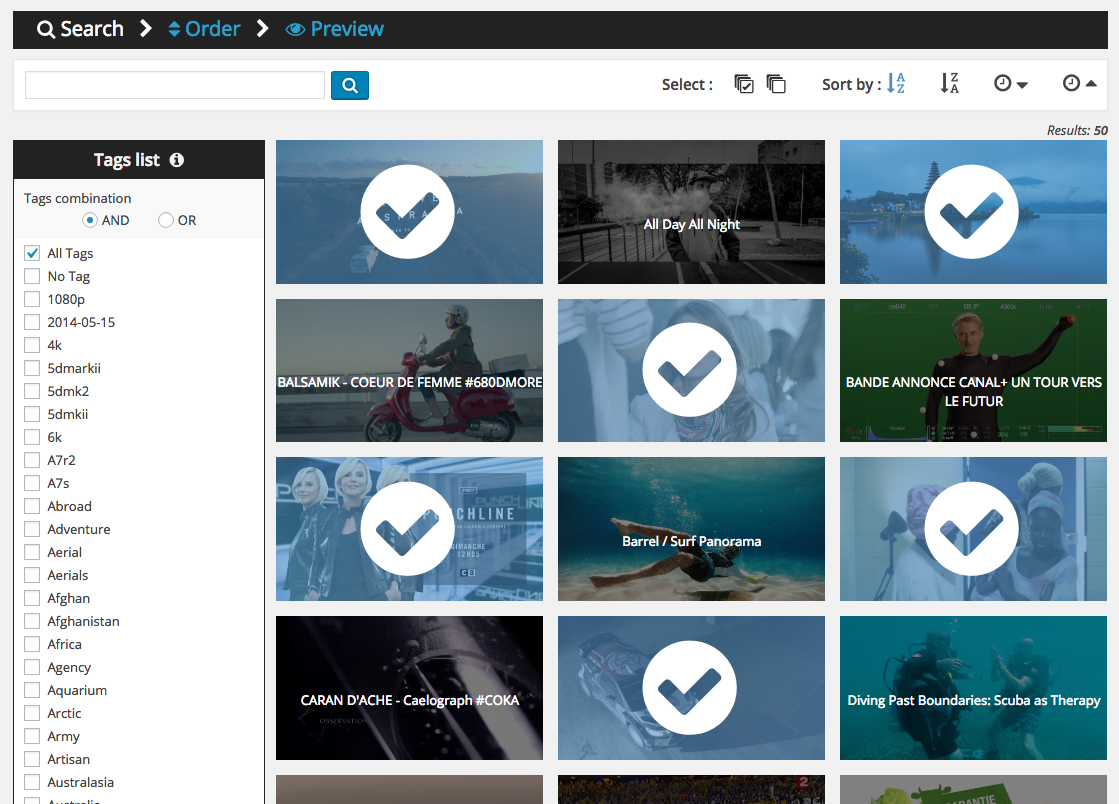 Select the videos that compose your gallery. You can use tags filters and  date title order. 066b7bc4f118