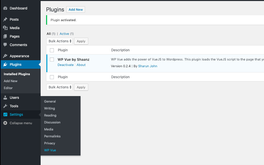 Global settings in Settings--> WP Vue  <ol> <li>Global settings option</li></ol>