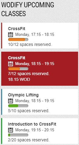 Display your upcoming classes from Wodify in a widget