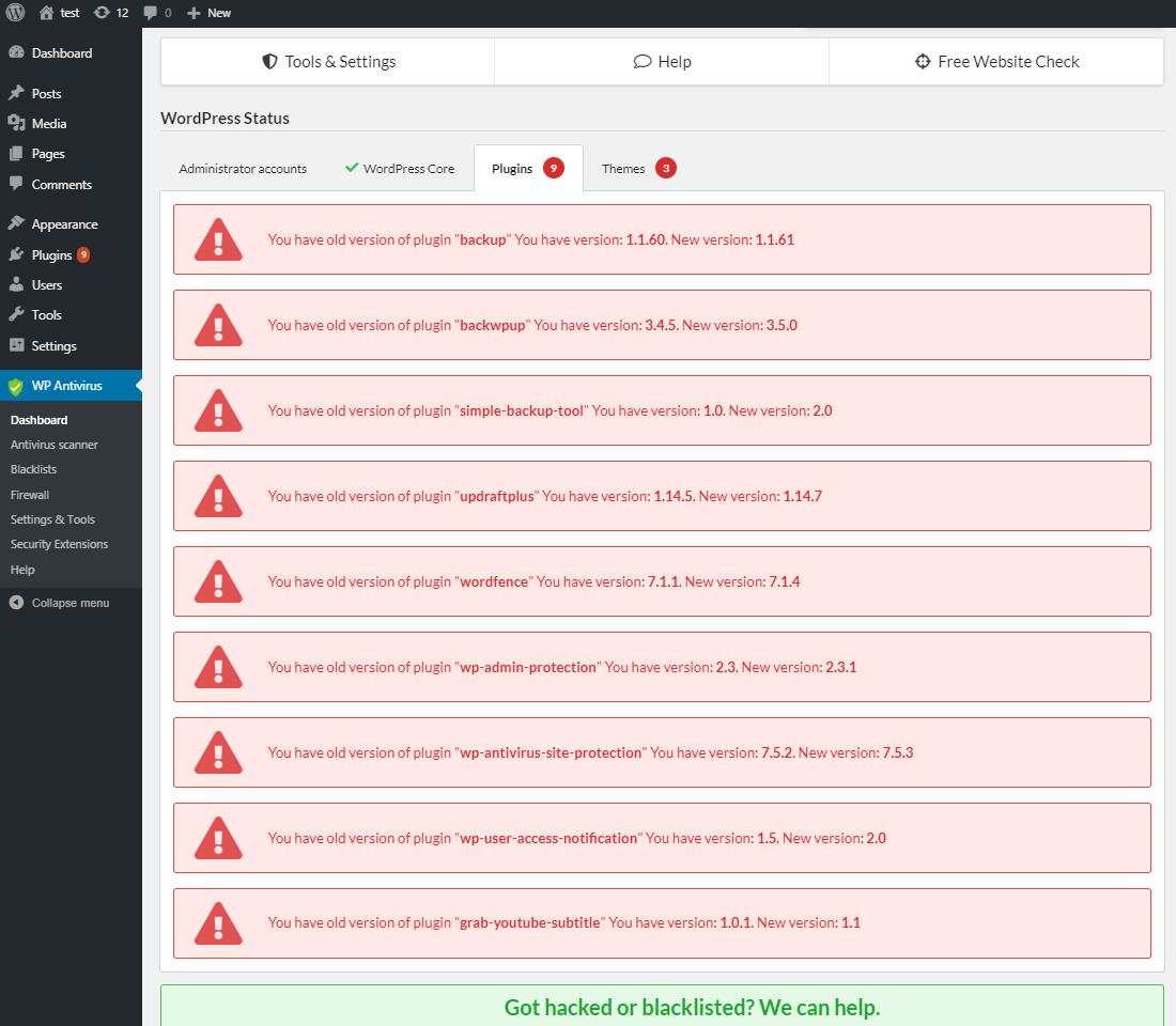 WP Website Antivirus & Virus Scanner – WordPress plugin