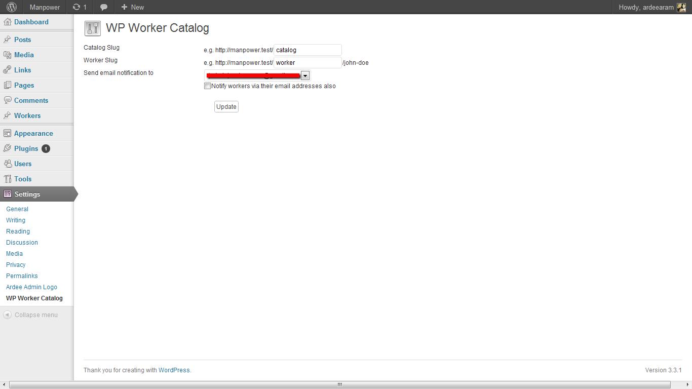 WP Worker Catalog Settings.