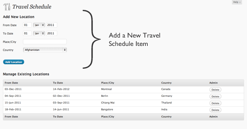 Admin for Travel Schedule