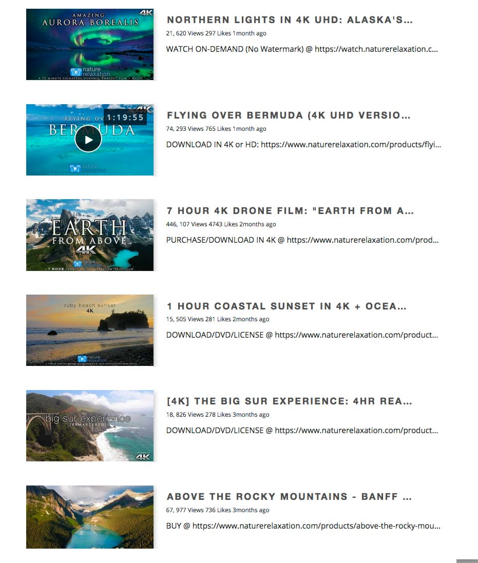 WP YouTube Embed Screenshot 2: List layout for Channel, Playlists, Videos or Search