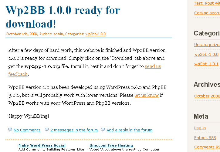 <p>Wp2BB showing the number of responses to a WP post in the PhpBB forum and a quick link to add a reply</p>
