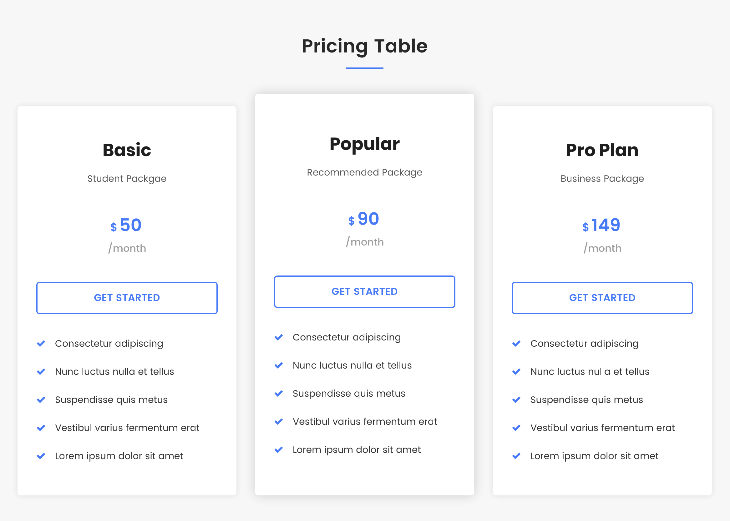 Pricing Table.