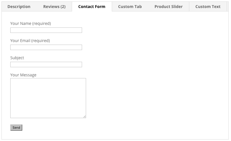 Contact form in tab.