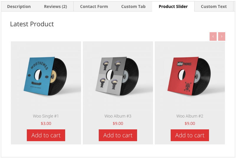 Product slider in tab.