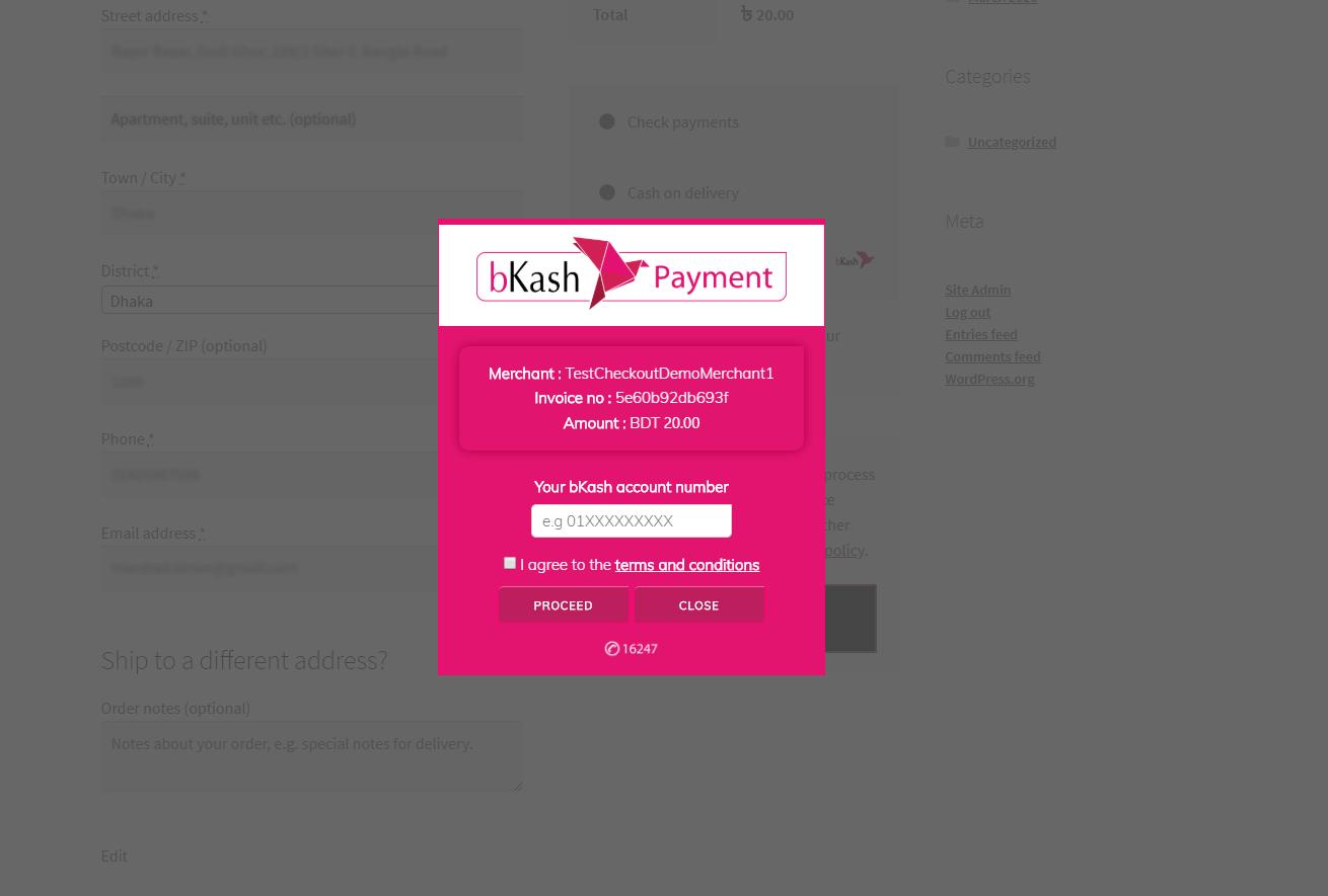 bKash Payment Gatway iframe