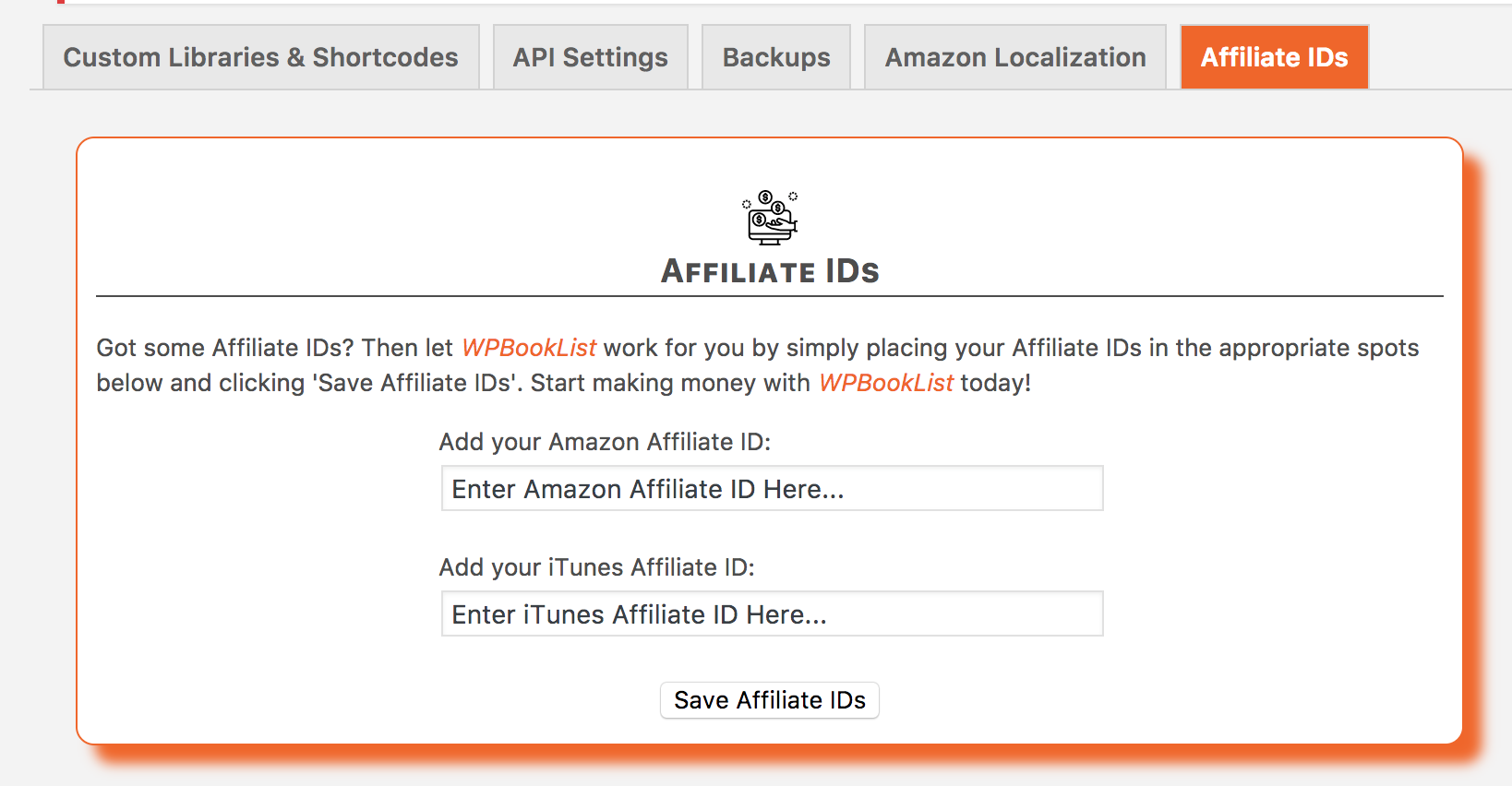 "With the <a href=""http://wpbooklist.com/index.php/downloads/affiliate-extension/""> Affiliates Extension</a>, you can add your Amazon & iTunes Affiliate ID to each book, giving you credit each time a visitor clicks on and/or purchases a title."