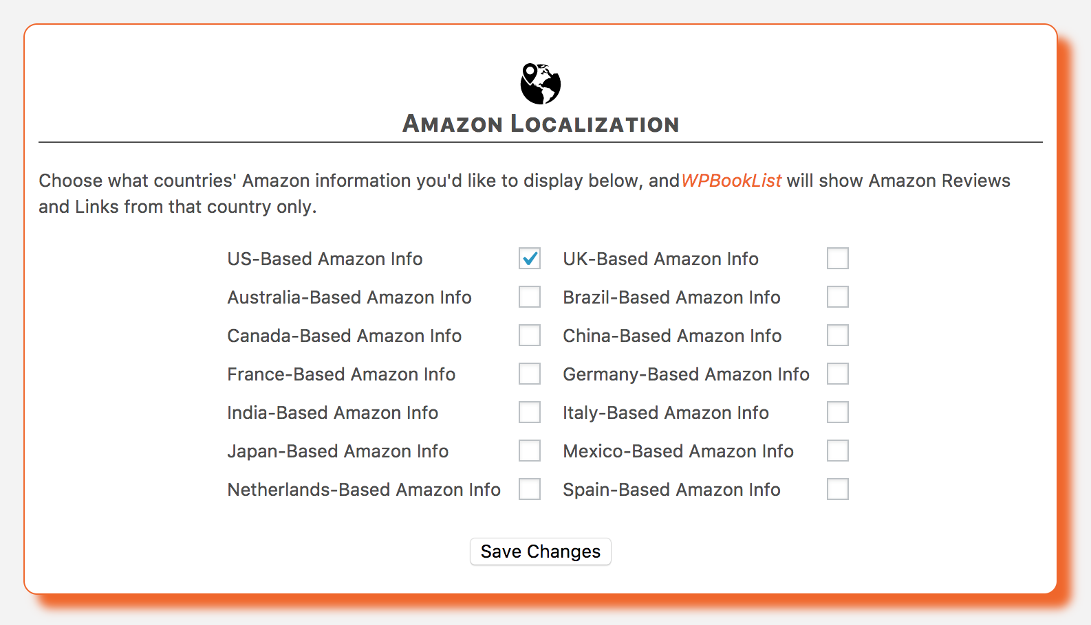 The Amazon Localization options, allowing you to set your Amazon reviews and links based on country.