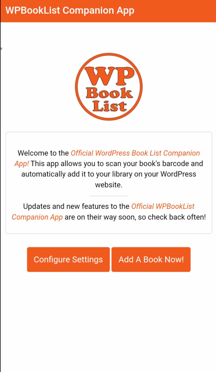 "A screenshot of the iOS version of the Official WPBookList companion app. Scan your book's barcode instead of entering the ISBN numbers manually. Only available <a href=""http://wpbooklist.com/index.php/downloads/mobile-app-extension/"">with the WPBookList Mobile App Extension</a>."