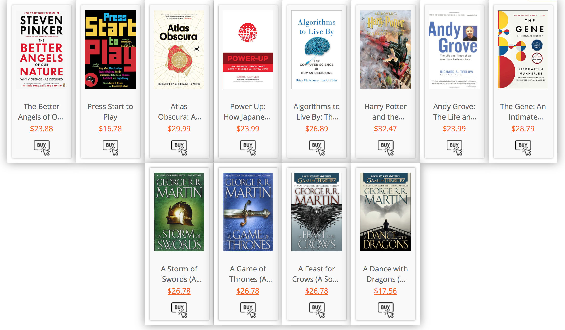 "This is how WPBookList can look with the <a href=""http://wpbooklist.com/index.php/downloads/storefront-extension/"">StoreFront Extension</a> activated - notice the prices and the 'Buy' image for each title. The StoreFront Extension lets you set your own 'Buy' image."