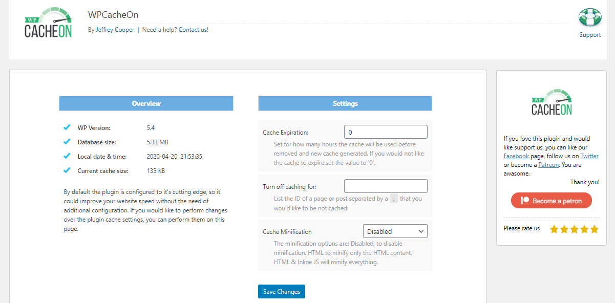 """WPCacheOn settings page and """"Flush WPCacheOn"""" link in the dashboard"""