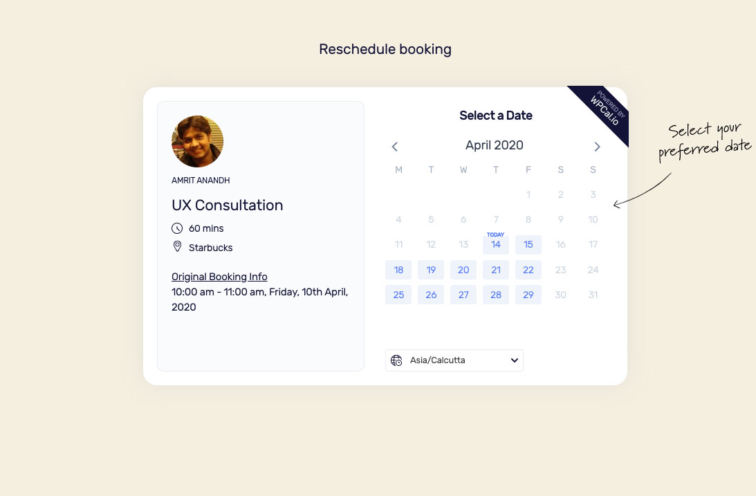 Reschedule booking widget with old booking details.
