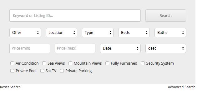 Property search form (horizontal)