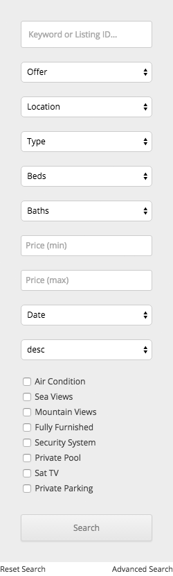 Property search form (vertical)
