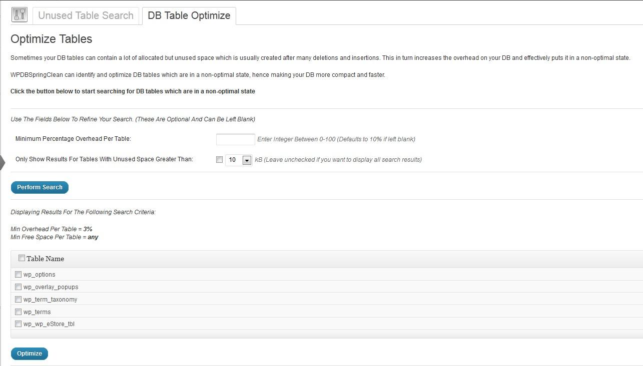 Screen shot file screenshot-2.jpg shows the table optimize admin menu.
