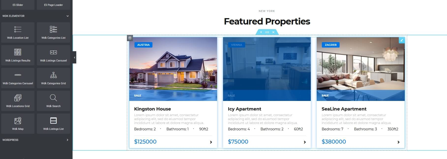Elementor Elements, Featured Listings Example