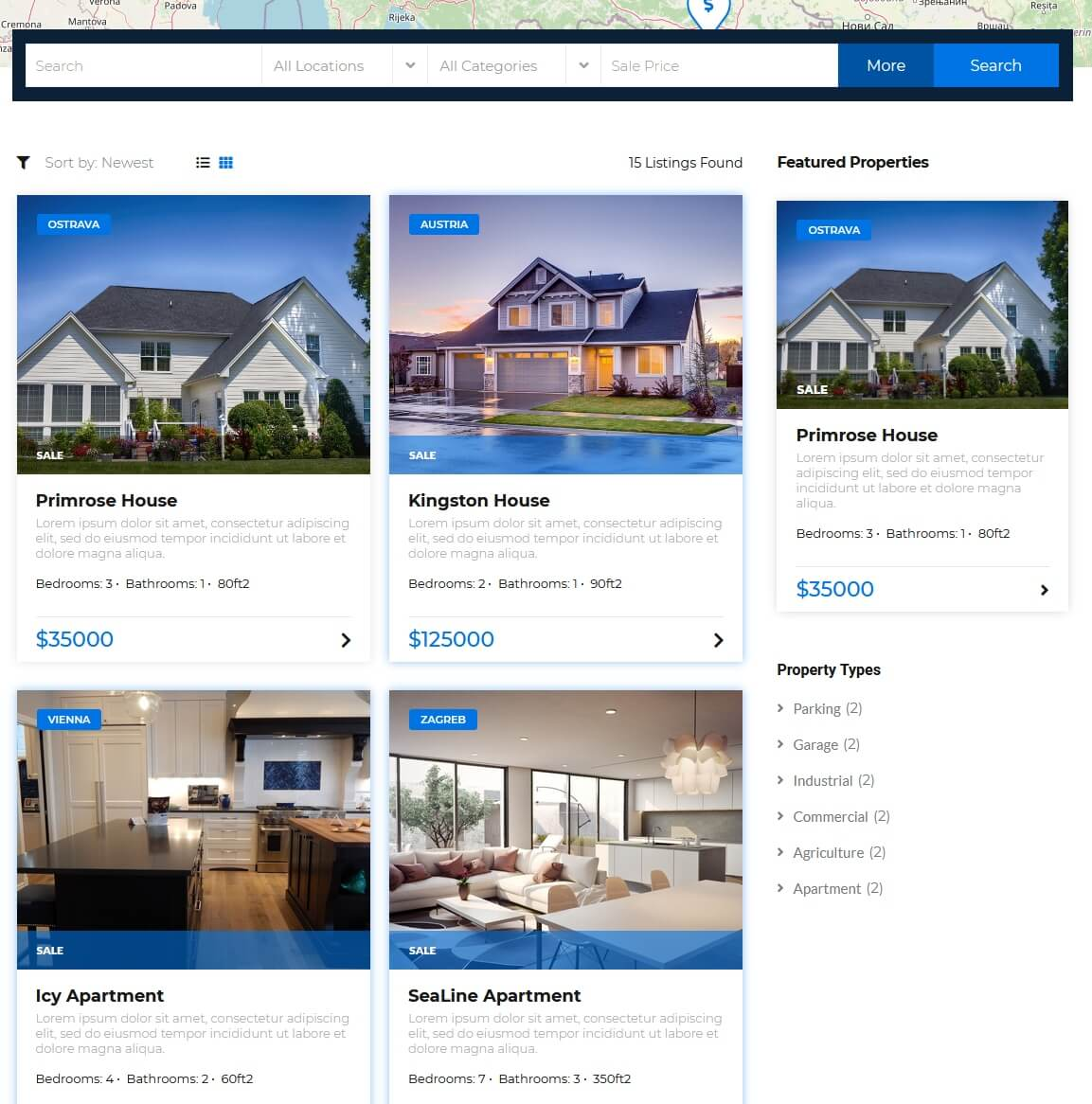 Search Form, Results with listings, Featured Listings and Categories