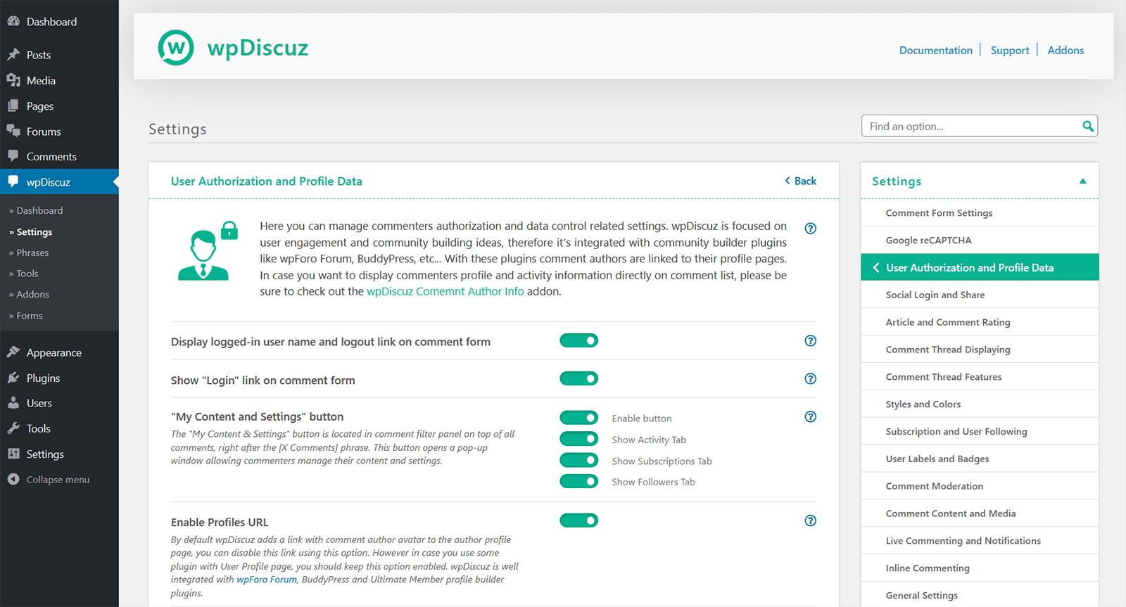 wpDiscuz Single Settings Page | Screenshot #12