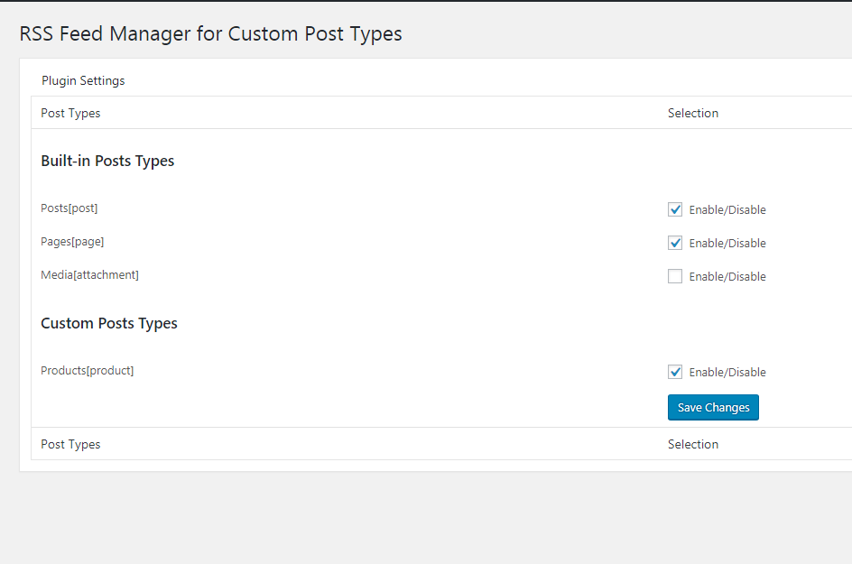 Plugin Option Panel