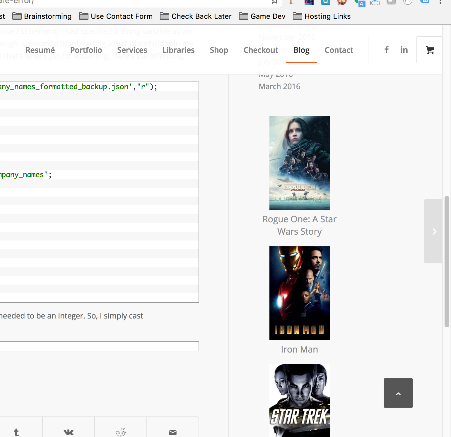 An example of the WPFilmList widget placed in the sidebar of my website.