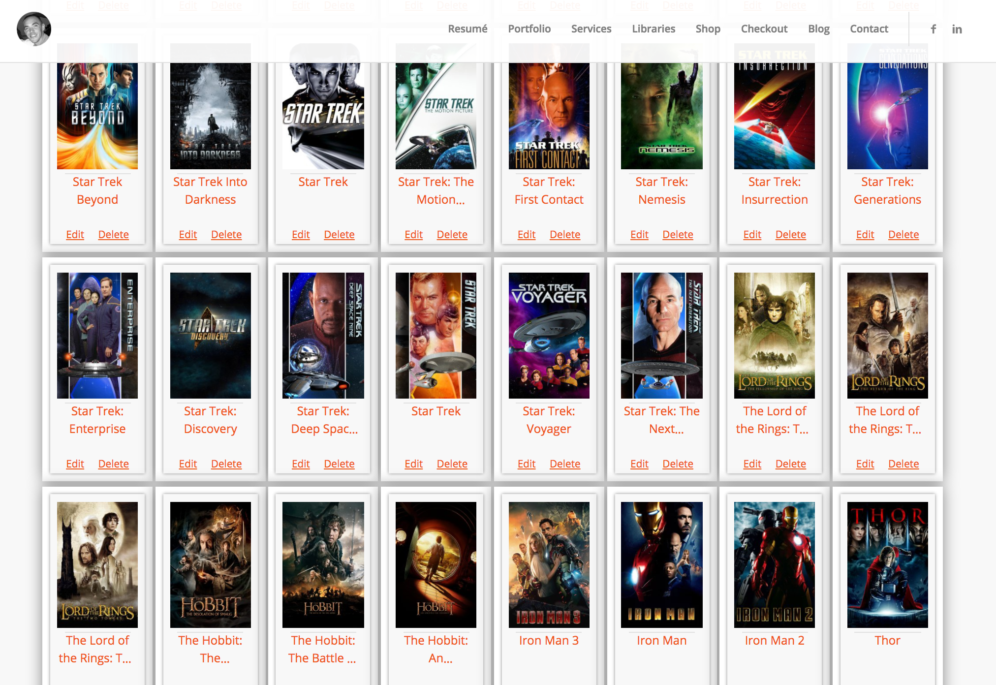 Another screenshot of the WPFilmList further down the page.
