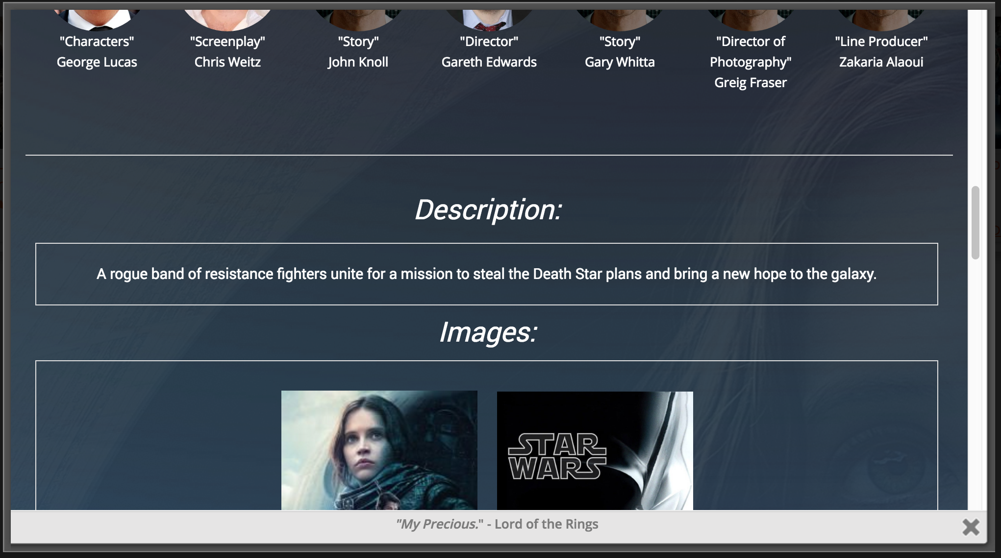 A screenshot of the Description and Images Section. The Description section is fully editable.