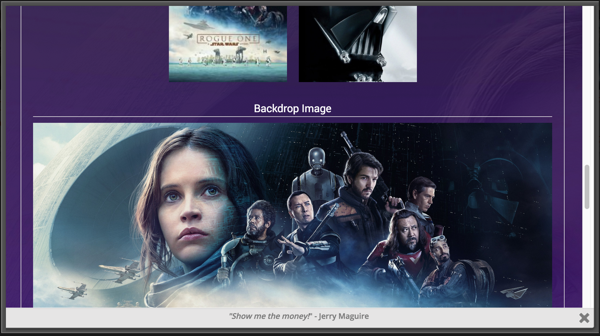 A Screenshot of the rest of the Images Section. The 'Backdrop Image' is the background image displayed behind the colored background.
