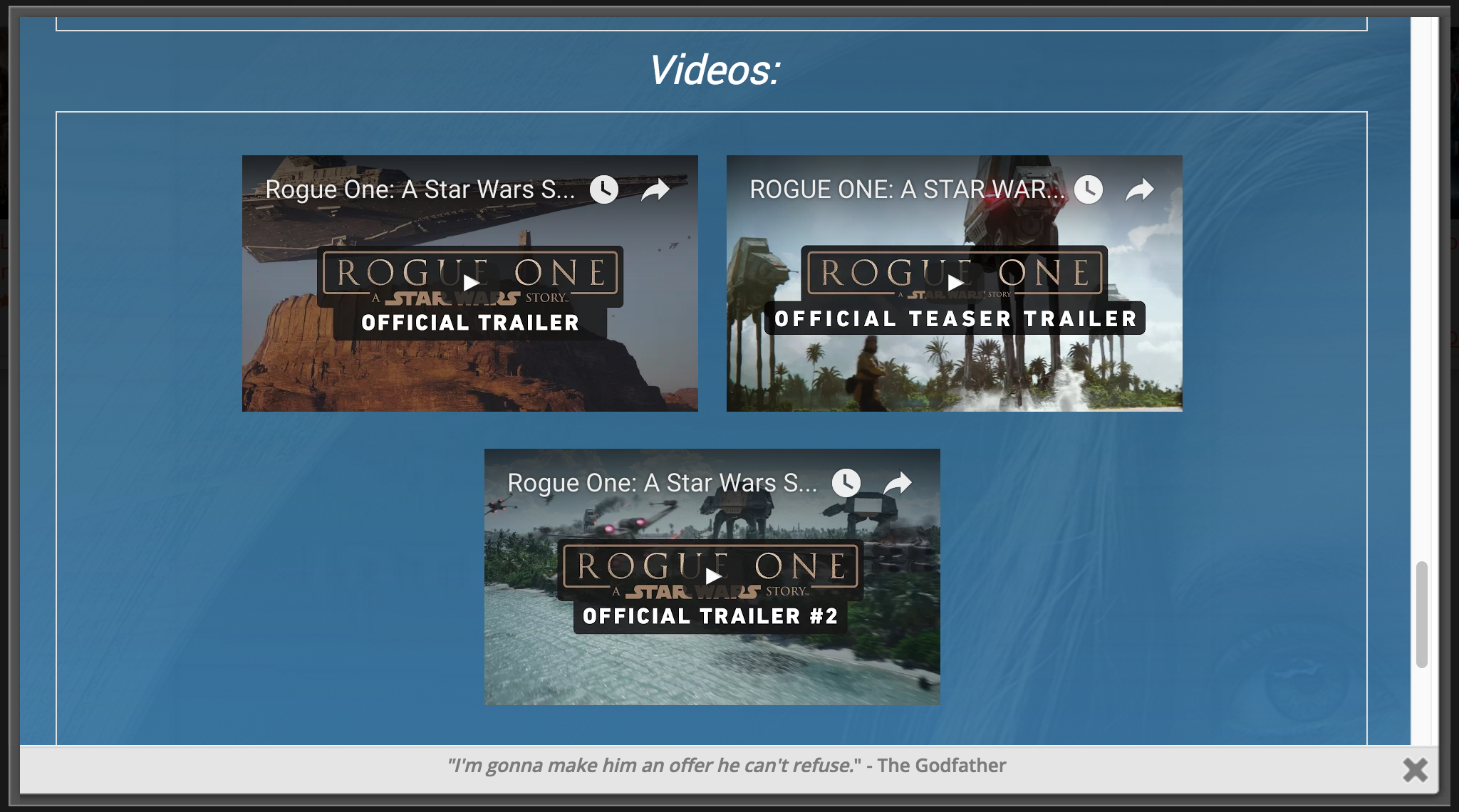 A screenshot of the Videos section, where Trailers and other videos for each Movie and TV Show are displayed.