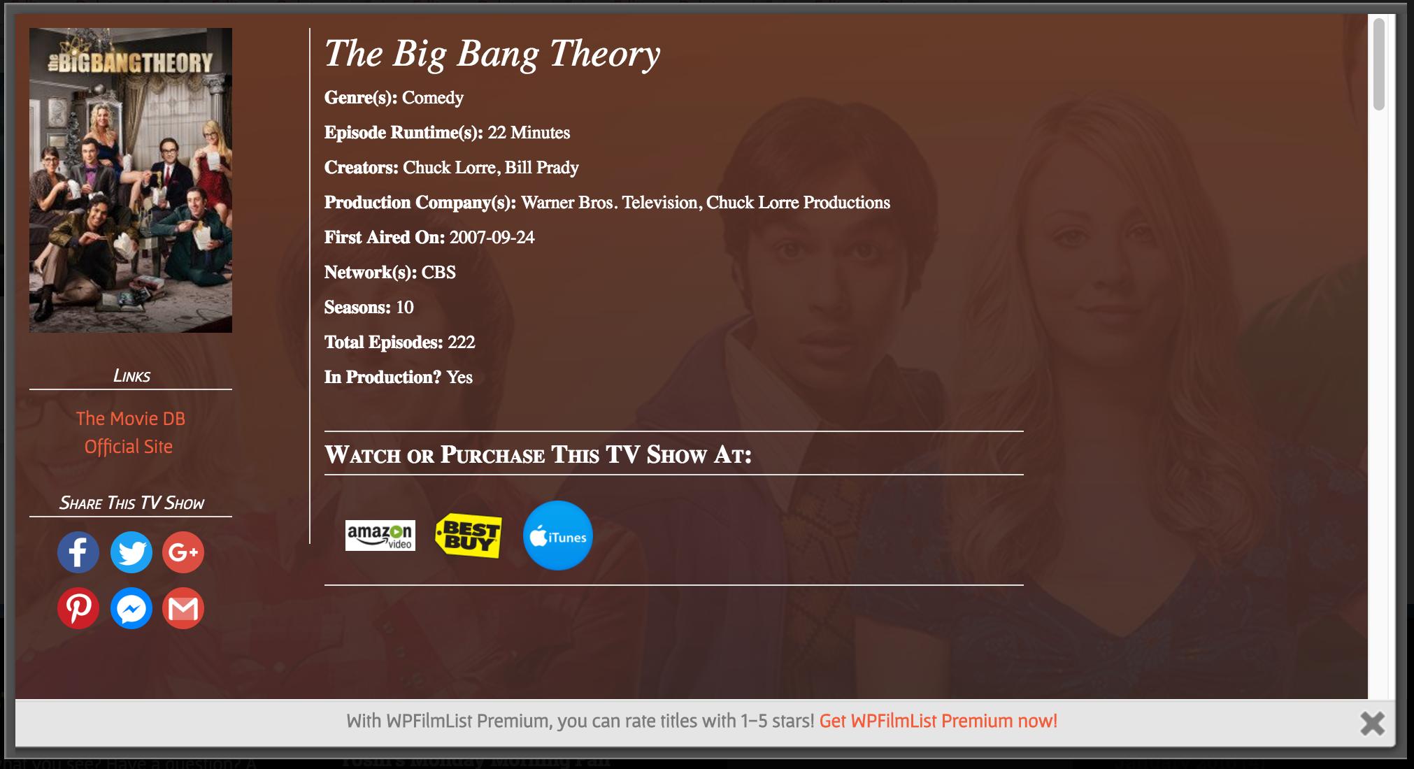 A screenshot of another entry, the TV Show '<em>The</em> <em>Big</em> <em>Bang</em> <em>Theory</em>'.