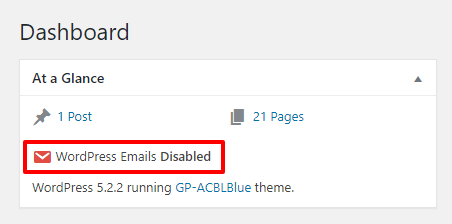 WPFrom Admin Dashboard notice of disabled emails option triggered.