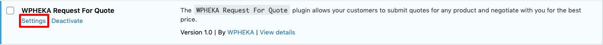 Plugin settings link.