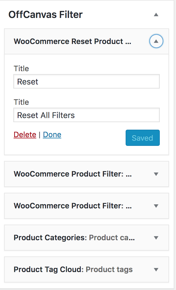 Admin - Appearance -> Widget: WooCommerce Filter Reset Button