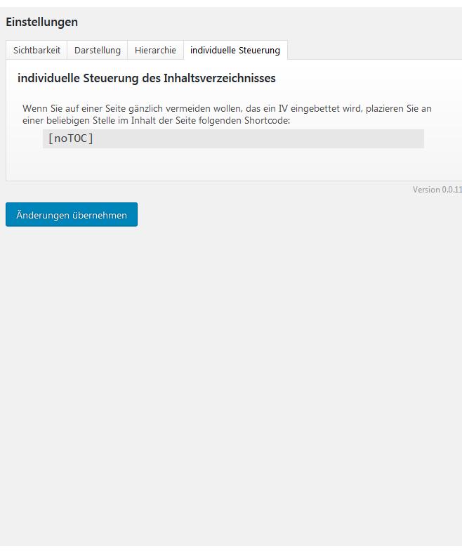 Auf das seitenweise Blockieren des Inhaltsverzeichnis ist möglich.
