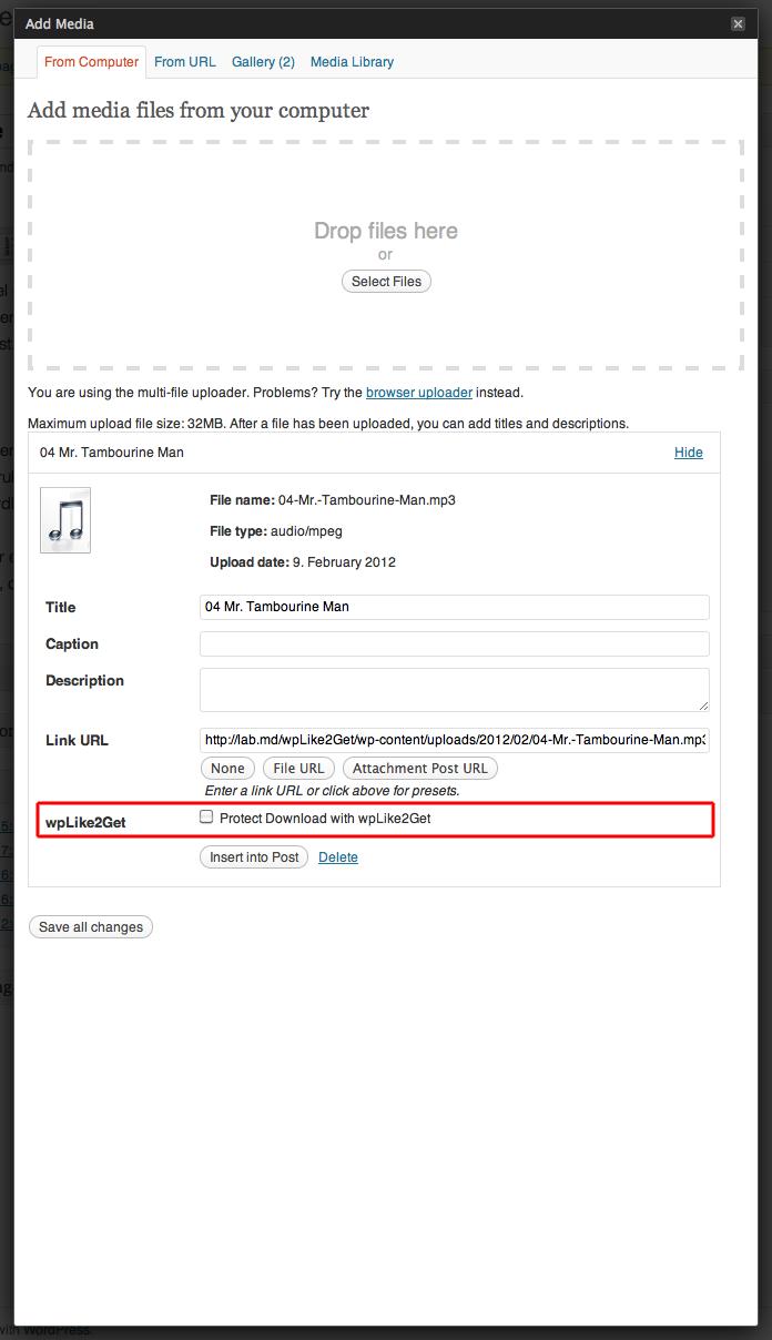 wpLike2Get settings excerpt