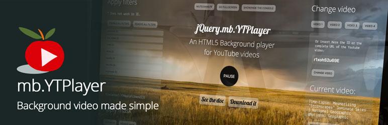 mb YTPlayer for background videos – Plugin WordPress | WordPress org