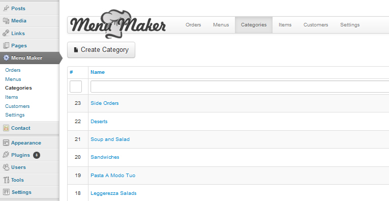 To add categories click on Categories-> Create New and add the information for the category.