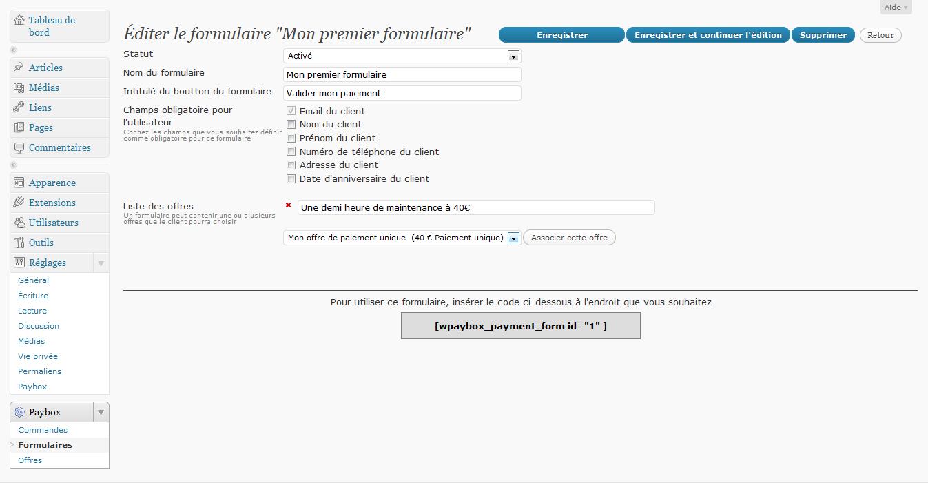 Page d'édition de formulaire, avec le code à insérer dans la page