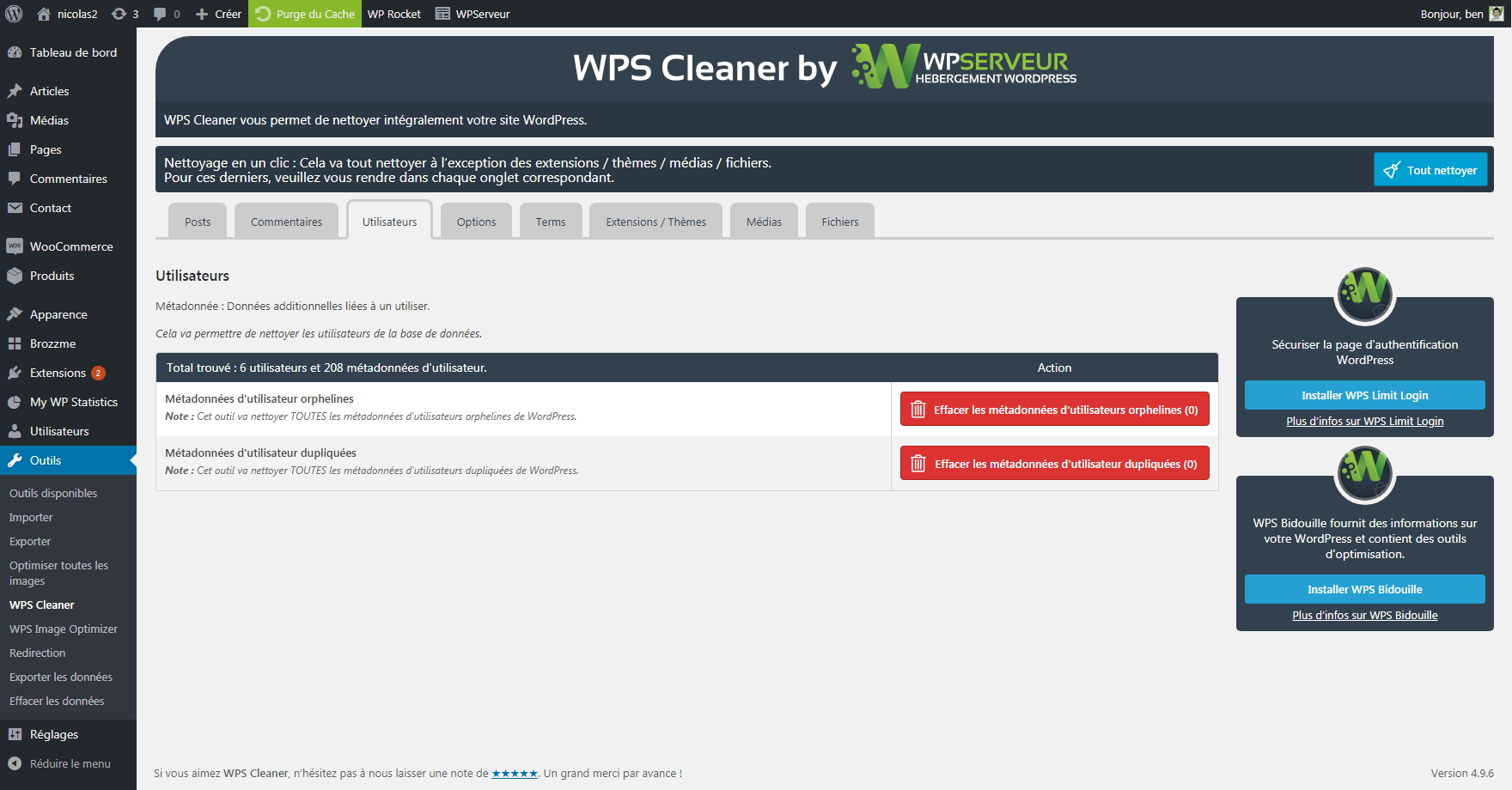 Cleaning users