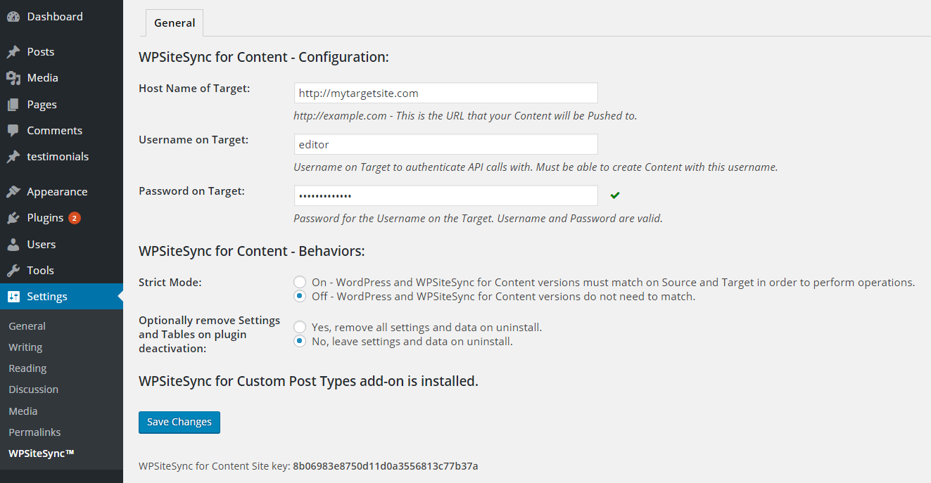 Configuration page.