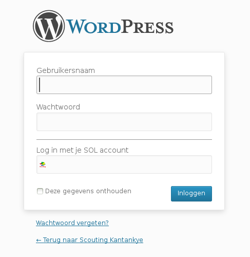 wp-login.php with scouting-login