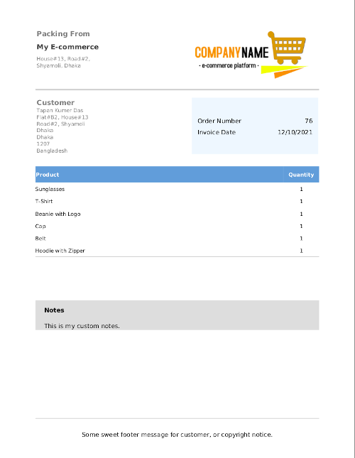 PDF Packing List (sample).