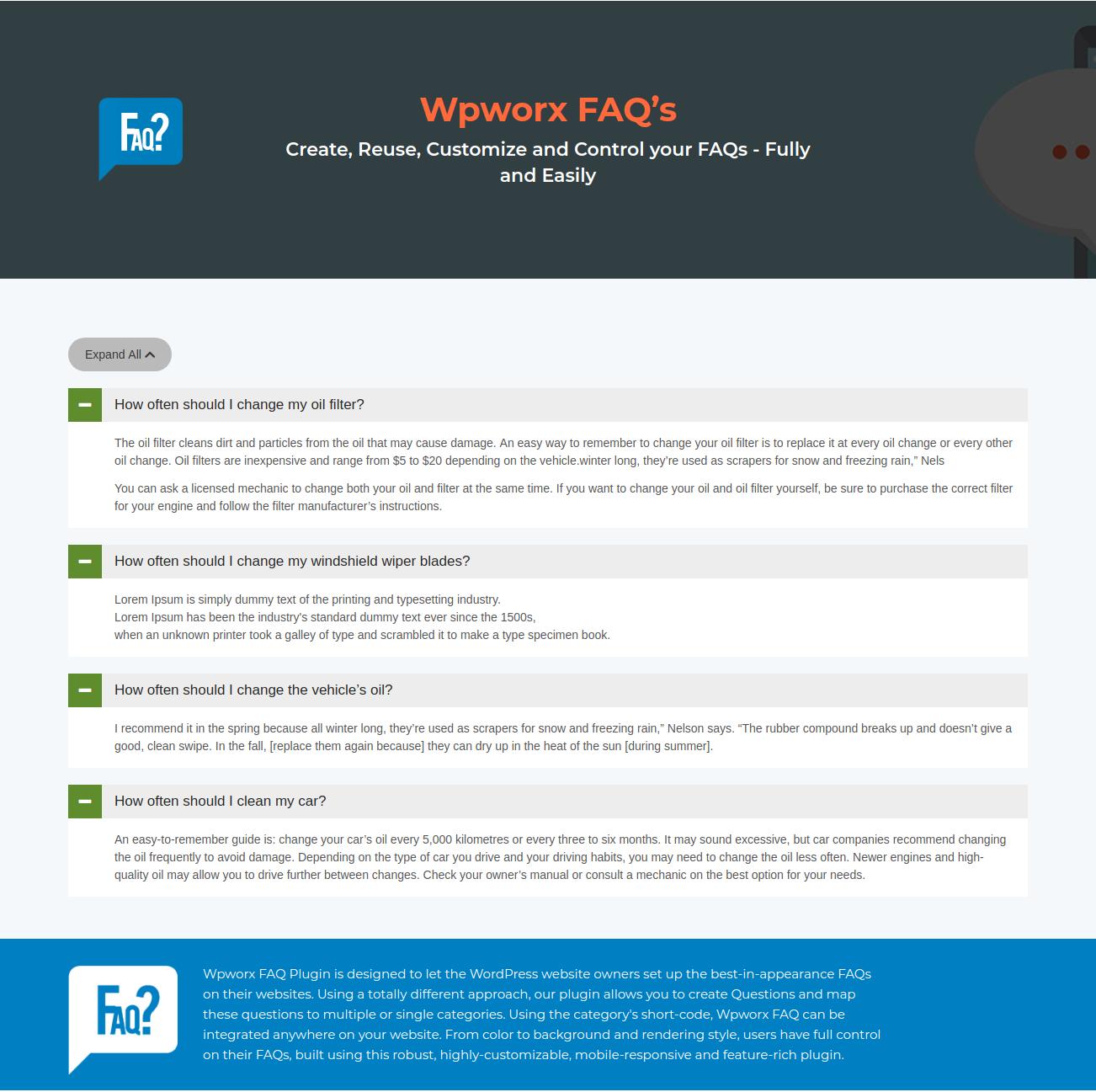 FAQ display expand style