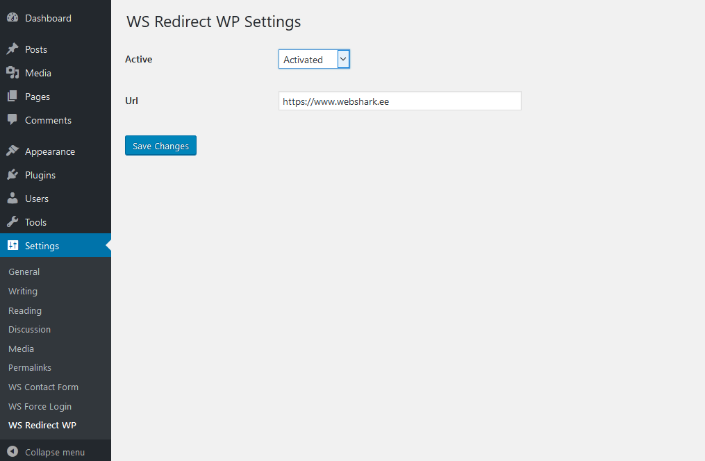 Settings page for the plugin